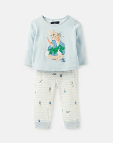 Joules Baby Boys Byron Applique Top And Trouser Set Blue Peter Rabbit