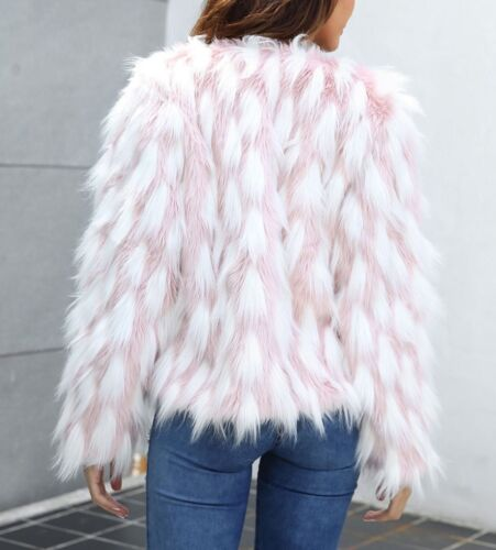 Open Front Long Sleeve Colorblock Faux Fur Coat Blazer Jacket Casual