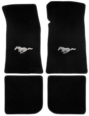 NEW! 1964-1973 Ford Mustang Black Floor mats Convertible Set-4 Carpet Horse Logo