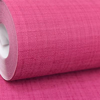 Rasch Raspberry Red Deep Pink Plain Textured Vinyl Paste The Wall Wallpaper