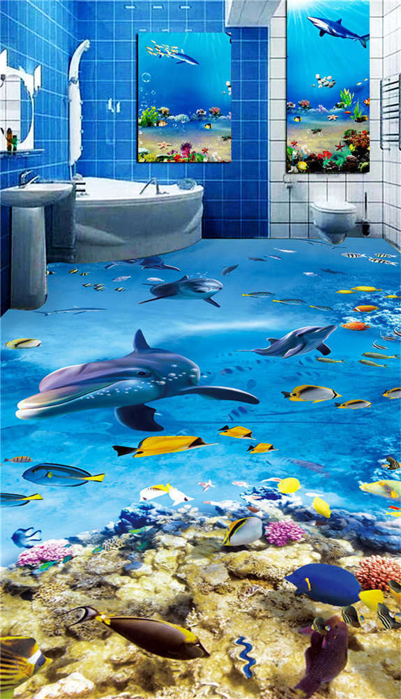 Restless Dolphin 3D Floor Mural Photo Flooring Wallpaper Home Print Decoration