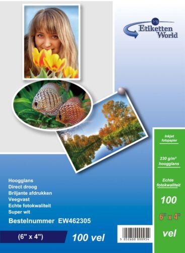 EtikettenWorld BV Fotopapier 6x4 230g//qm High Glossy und wasserfest