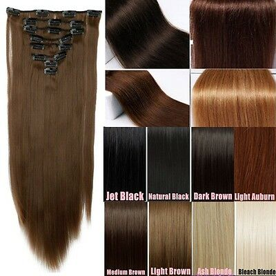 Quality New Hot 8pcs Full Head Clip in Hair Extensions for 2014 Women Lady Hair