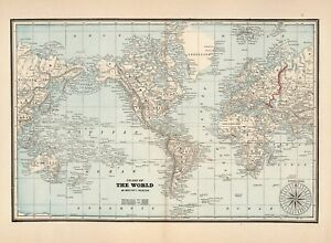 Old Vintage Antique Decorative World Map Cram Ca 1893 Paper Or