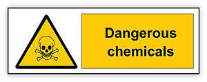 Pericolo-Chimica-Danger-Chemicals-warning-sign-etichetta-sticker-14cm-x-5cm