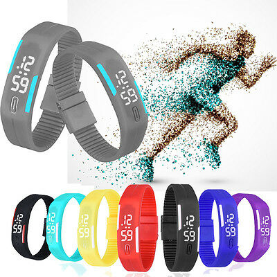 Ultra Thin Mens Watch LED Womens Bracelet Sports Digital Rubber WristWatch Gift