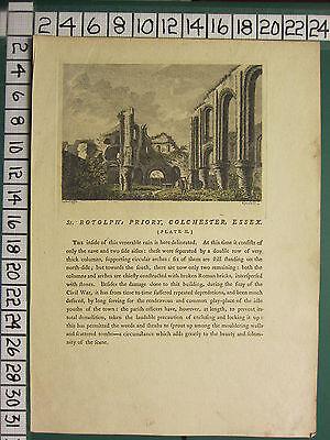 1772 Antiguo Estampado St Botolph Priory Colchester Essex Con Descriptive Texto Descuentos En Venta