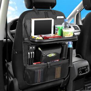 Car Back Seat Organizer Upgrade 4 USB Port Multi-Pocket Storage Bag Dining Table