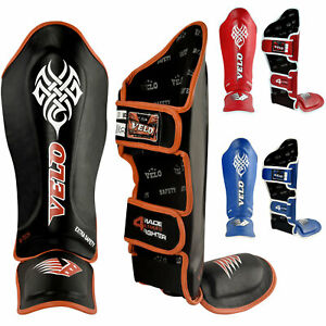 VELO-Leather-Shin-Guards-Muay-Thai-Instep-Pads-MMA-Legguard-Foot-Kick-Boxing