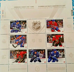 MINT-MNH-Sheet-Stamps-Honouring-Canada-039-s-NHL-Teams-4-41-FV-Face-Value-MNH