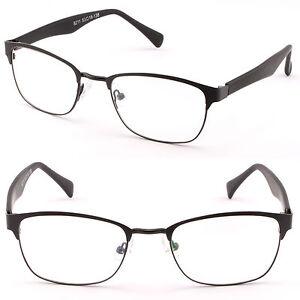 Leicht Herren brille Damen Metall Eckig Brillengestell Square Fassung Schwarz UQ2Mm1L