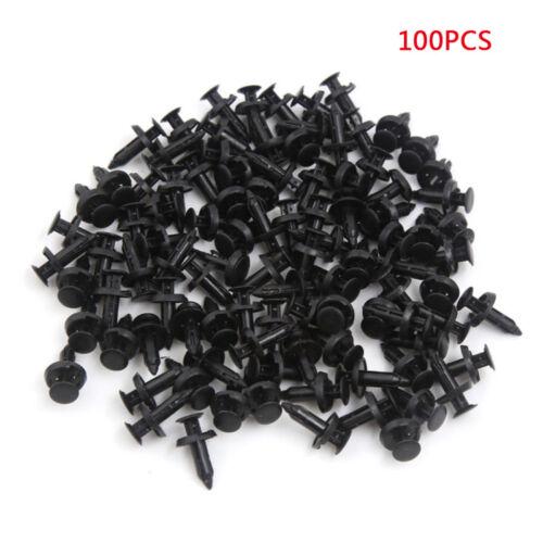 100x 6mm Hole Dia Plastic Push in Clips Rivet Retainer Fastener Pin Auto Body ik