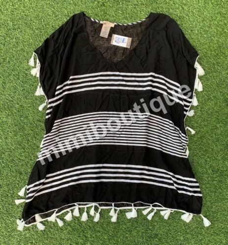 C /& T Beach Cover Up Shirts Women/'s Cute Top Black Stripes w// White Tassels $58