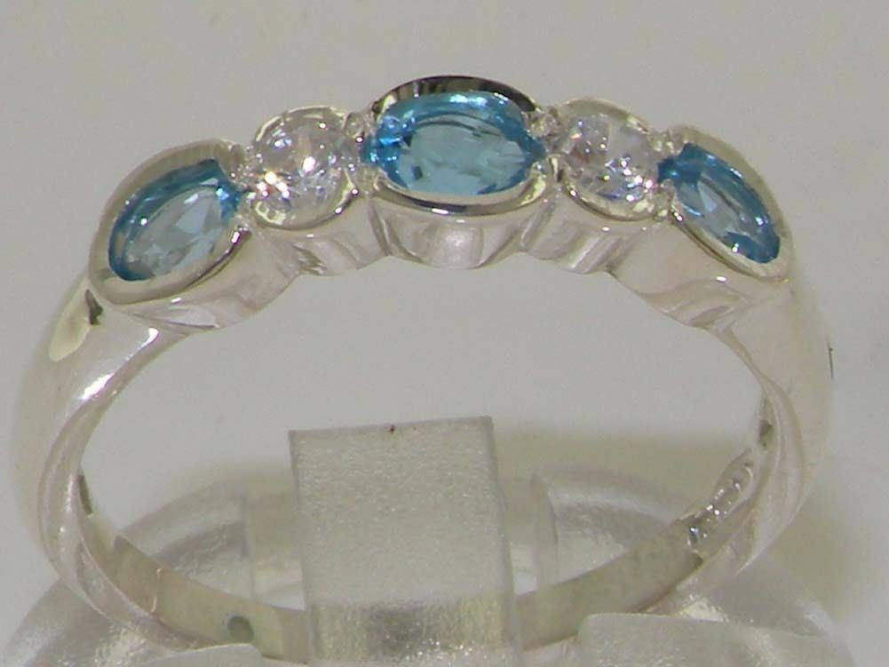 10ct White gold Natural blueee Topaz & Diamond Womens Eternity Ring - Sizes J to Z