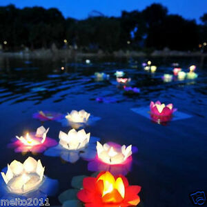 1050100x Floating Water Light Paper Lotus Flower Wishing Lamp