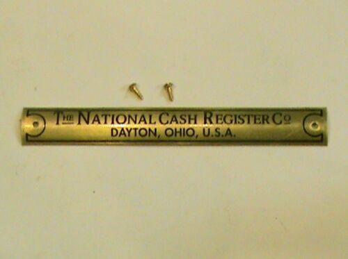 """ANTIQUE NATIONAL CASH REGISTER /""""BRASS NAME PLATE/"""" FOR OAK BASE TAG NCR"""