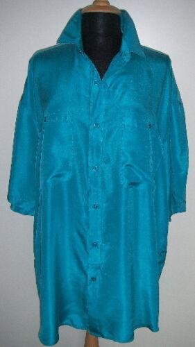 Designer Seidenhemd Türkis XL eher 50-52 auch f Damen Halbarm