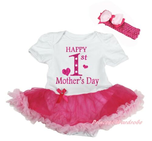 Happy 1ST Mother Day Mommy Heart Pink Cotton Bodysuit Girls Baby Dress NB-18M