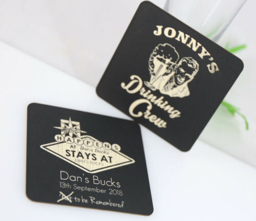BUCKS PARTY COASTERS CARDBOARD MULTIPLE COLOURS ROUND SQUARE CUSTOM LASER ETCHED