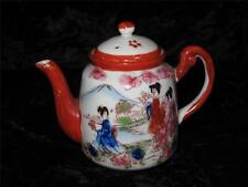 Vintage Japanese Porcelain Tea Pot SUZUKI COMPANY Hand Decorated Oriental Scene
