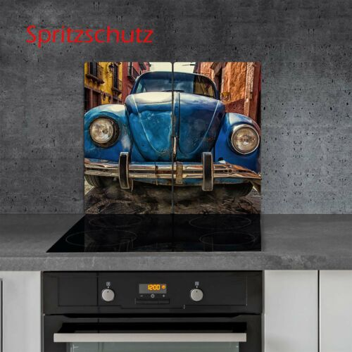 Herdabdeckplatten Set 2x30x52 cm Ceranfeld Abdeckung Glas Spritzschutz Vintage
