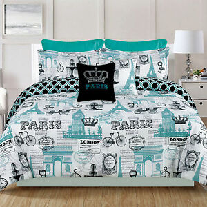 paris bedding king or queen 7 piece comforter bed set eiffel tower teal blue ebay. Black Bedroom Furniture Sets. Home Design Ideas