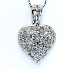 9c0422d08 Image is loading Diamond-encrusted-heart-pendant-necklace-14K-white-gold-