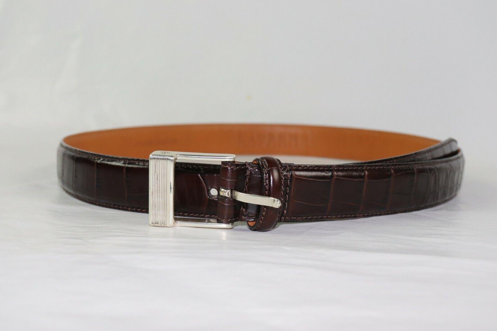 Women's LAUREN Ralph Lauren Crocodile Italian Brown Leather Belt Size M 36