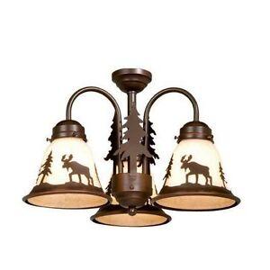New 3 Light Rustic Moose Ceiling Fan Lighting Kit Fixture