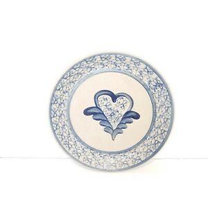 Beaumont-Brothers-Dinner-Plate-Blue-Salt-Glazed-Spongeware-Heart-9-1-2-Inches