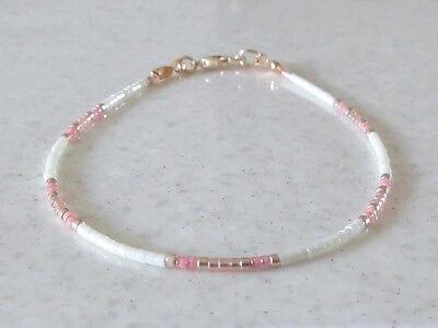Skinny Anklet Details about  /Pink Necklace Light Gold Seed Bead Friendship Bracelet Cream