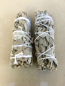 White-Sage-Smudge-Stick-4-034-to-5-034-Wands-House-Cleansing-Negativity-2-Pack