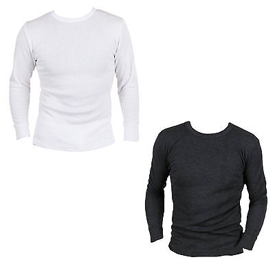 MENS THERMAL T SHIRT LONG SLEEVED WARM VEST UNDERWEAR WHITE OR CHARCOAL S - XXL