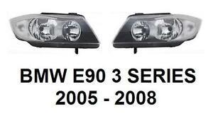 BMW-E90-3-FRONT-PAIR-2-X-HEADLAMPS-HEAD-LAMP-HEADLIGHTS-H7-05-08-TOURING-SALOON