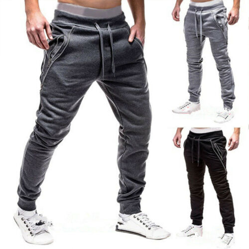 Mens Sports Gym Jogging Exercise Training Fitness Strechy Track Pants Sweatpants