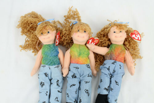 3 PACK TY Teenie Beanie Boppers Babies Paula Plappertasche 8.5 in Doll NO JACKET