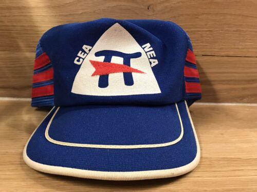Vtg Cea Nea 3 Stripe Snapback Hat Lid Cap Blue