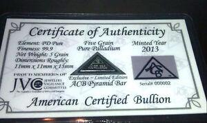 ACB-Pyramid-Palladium-5GRAIN-BULLION-MINTED-BAR-99-9-Pure-w-Certificate