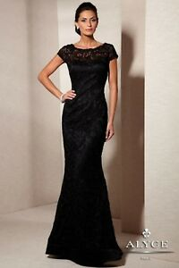 NWT-Alyce-Jean-De-Lys-29602-Black-all-lace-Size-12-long-formal-gown-short-sleeve