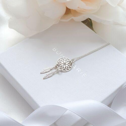 Sterling Silver Dreamcatcher Charm Necklace Boho Dainty Layering Jewellery 925