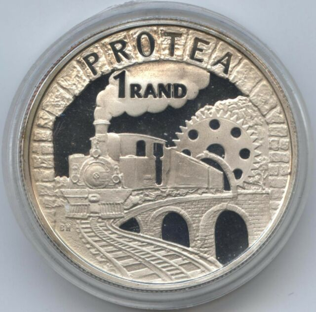 1995 South Africa Protea 1 Rand Silver Proof Railway Centennial, capsule only