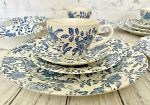 Churchill Blue Peony Dinnerware Service For Four 20 Piece Set Blue White Chintz