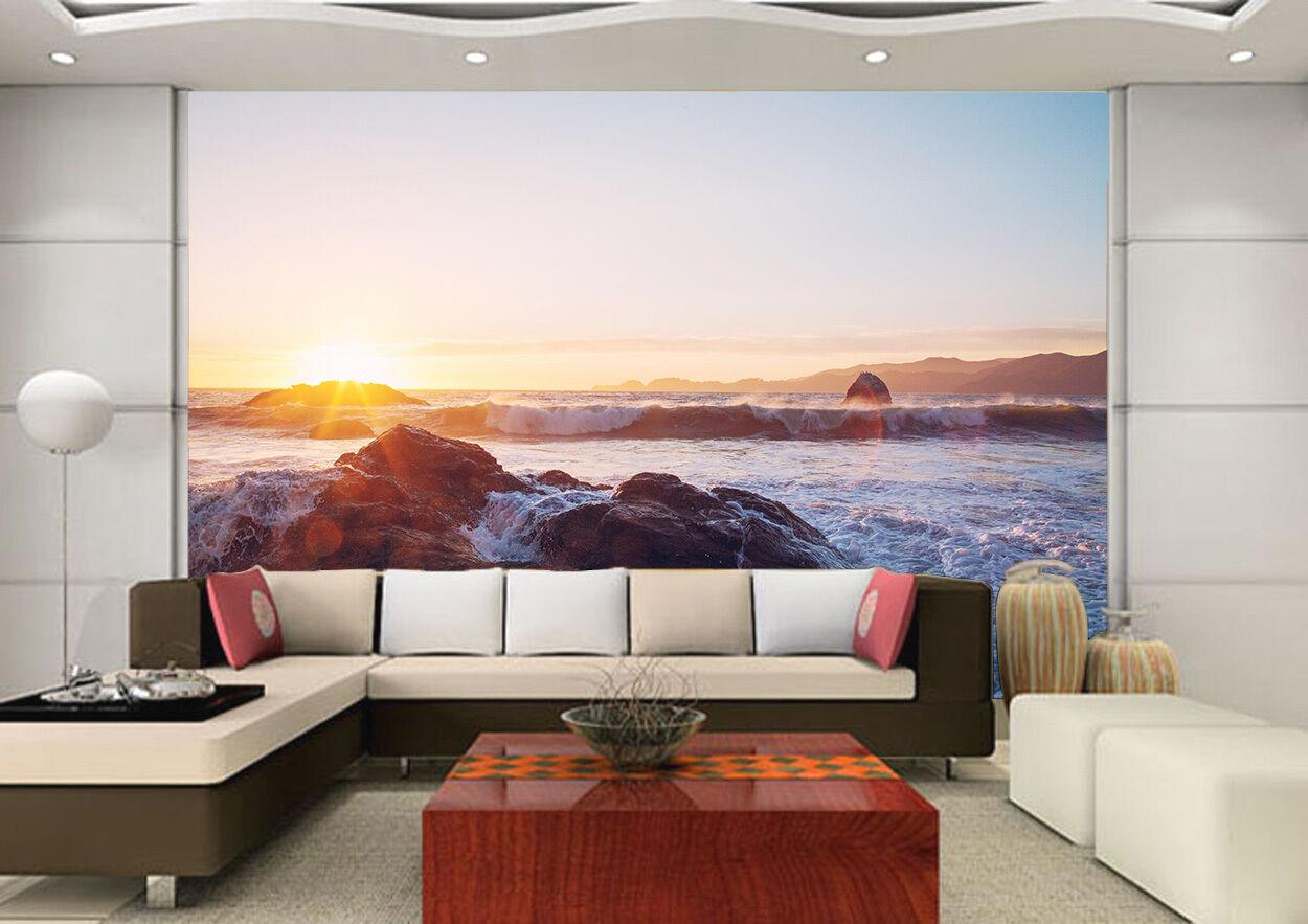 3D Sunset Stone Waves 6 Wall Paper Wall Print Decal Wall AJ WALLPAPER CA