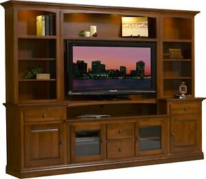 Details About Amish Solid Wood Entertainment Center Wall Unit Traditional  Glass Doors Clark