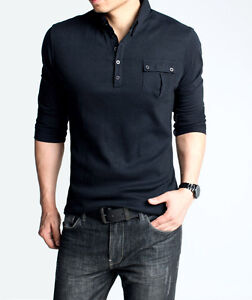 Fitted Mens T Shirt Long Sleeve Polo Shirt Pocket Tee Two Piece