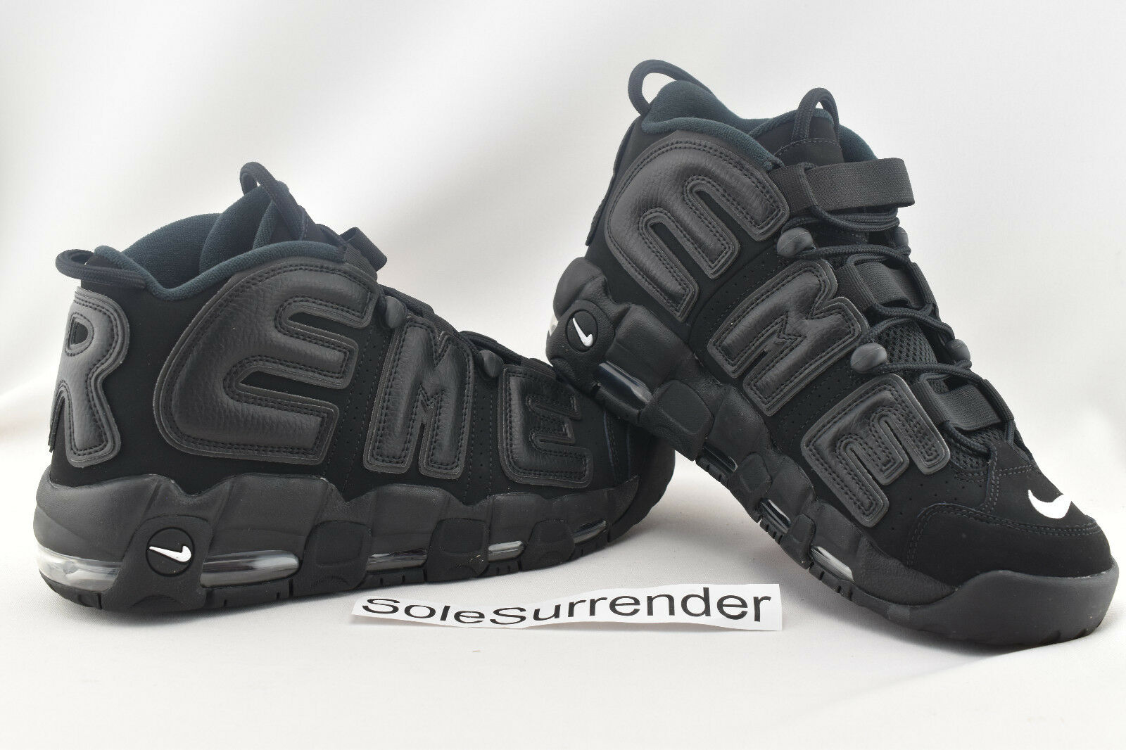 Nike X Supreme Air More Uptempo - SIZE 10 - 902290-001 Triple Blackout Suptempo