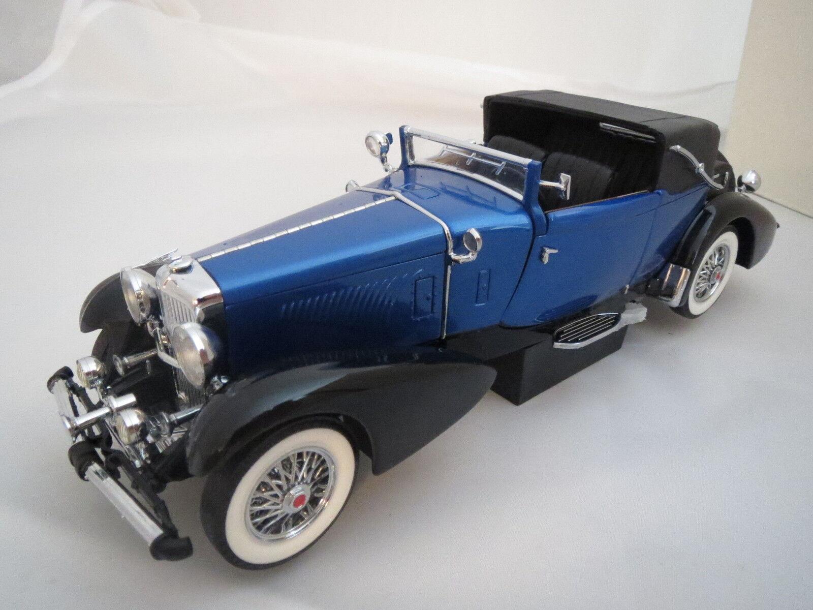 Para para aficionados al bricolaje 1933 Duesenberg en blu metálica nero, 1 24, franklin mint, rara vez