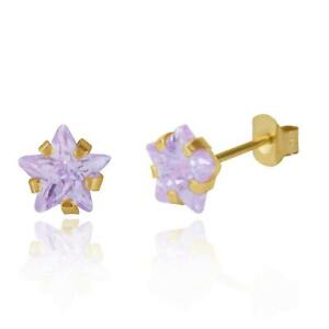 Brand New 9ct Gold 3mm rub over round Lavender cubic zirconia stud earrings