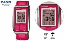 Casio LA-201WBL-4A Futurist Pink Leather Band Chronograph Womens Watch LA-201