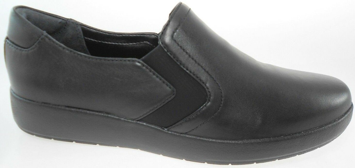ROCKPORT DEVONA DOUBLE GORE WOMEN'S BLACK BLACK WOMEN'S LEATHER SLIP-ON LOAFER, CH0469 a05652